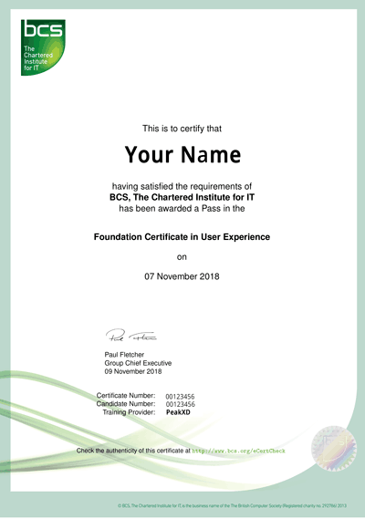 Example certificate from BCS