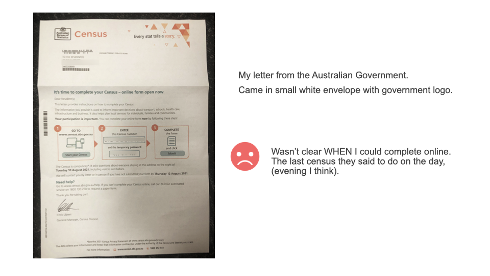 """A photograph of a """"Census Letter"""" from the Australian Government, with a sidenote saying that the letter does not tell recipients what time the Census opens online."""
