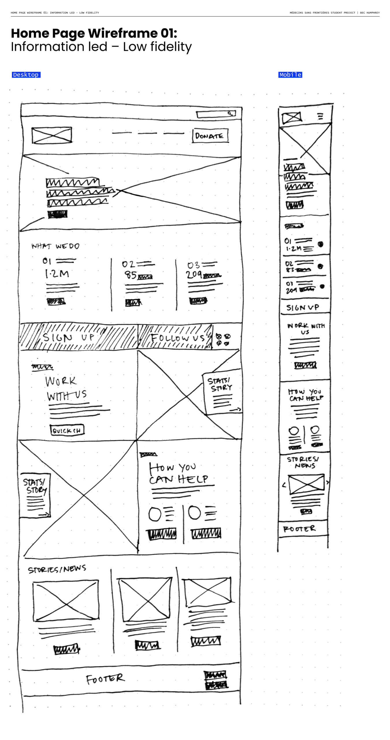 Bec_02 Home Page Wireframe 01_ Information led – Low fidelity